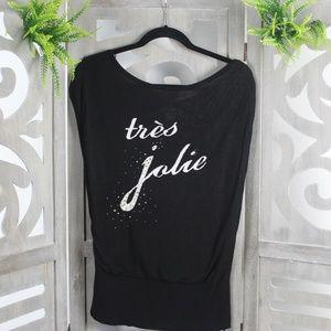 White House Black Market Tre's Jolie Black Blouse